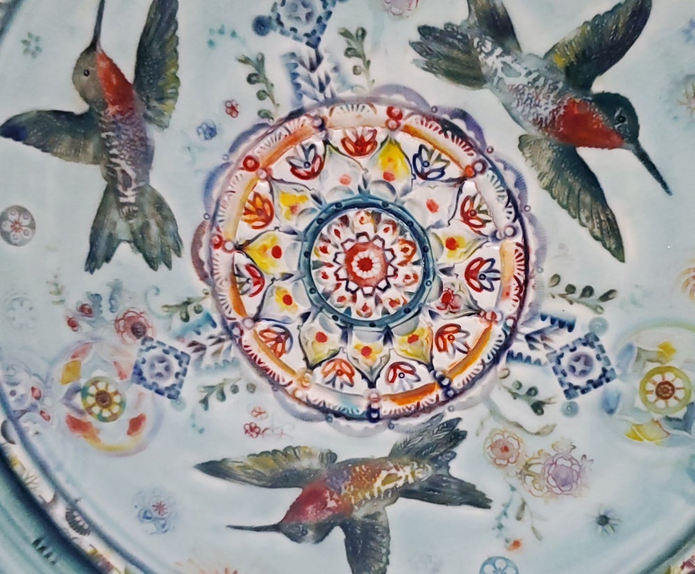 Image of Ruby Throated Hummingbird Porcelain  Plate