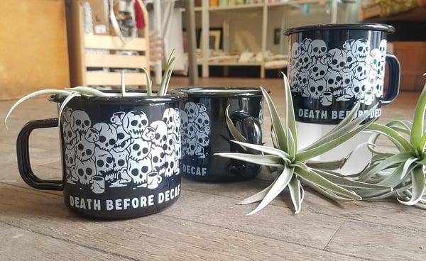 Image of Death Before Decaf Enamel Mug