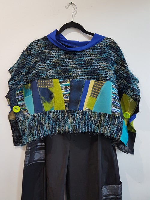 Image of cropped top, blue, green