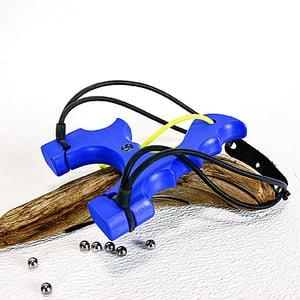 Image of Slingshot Catapult, Blue Textured Polyethylene HDPE, The Menace, Hunter Gift, Left or Right handed