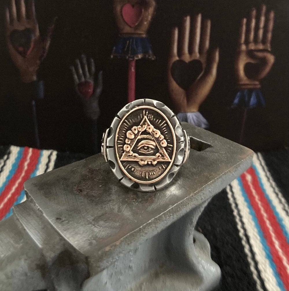 OVAL ALL SEEING MEXICAN BIKER RING