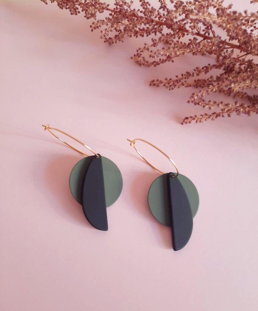 Image of Pendientes BOLOGNA - Verde Caqui