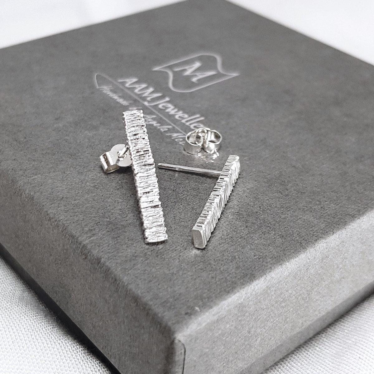 Image of Contemporary Silver Bar Stud Earrings - Handmade Sterling Silver Bar Earrings