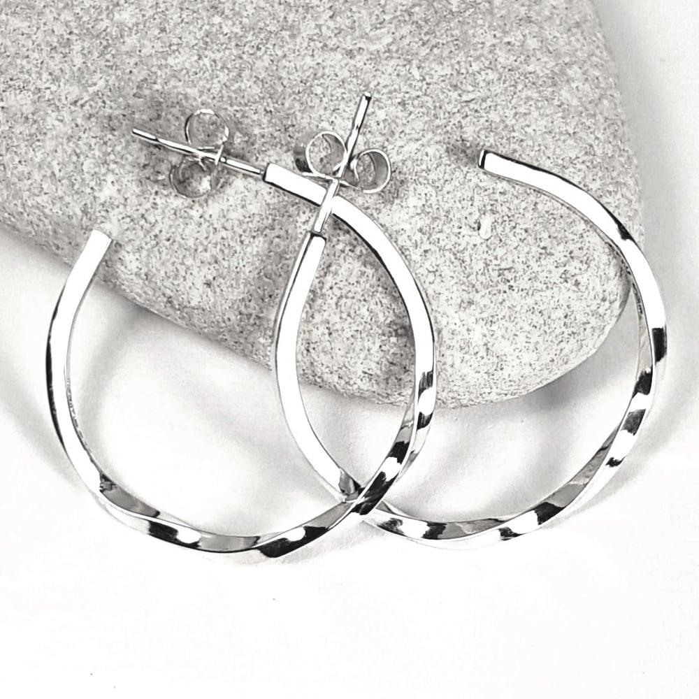 Image of Sterling Silver Hoop Earrings - Handmade Silver Hoop Earrings with a Twist