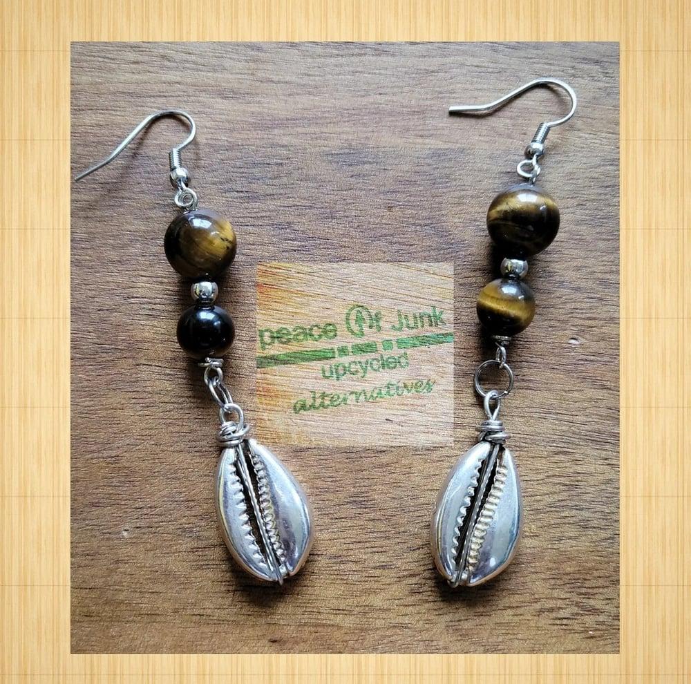 Image of 2 #TIGERSEYE SILVER COWRIESHELL EARRINGS