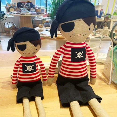 Image of Small Pirate Boy Doll Rattle 30cm Navy Red