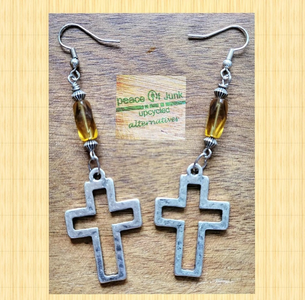 Image of LET THERE BE LIGHT #YELLOW  SILVER CROSS EARRINGS