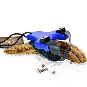 Image of Slingshots Catapults, Blue Textured Polyethylene HDPE, The Mini Heathen, hunter gift, right handed