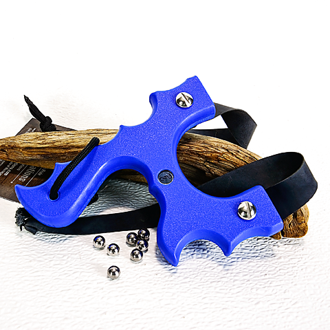 Image of Slingshots Catapults, Blue Textured Polyethylene HDPE, The Menace, side finger divots, Right handed