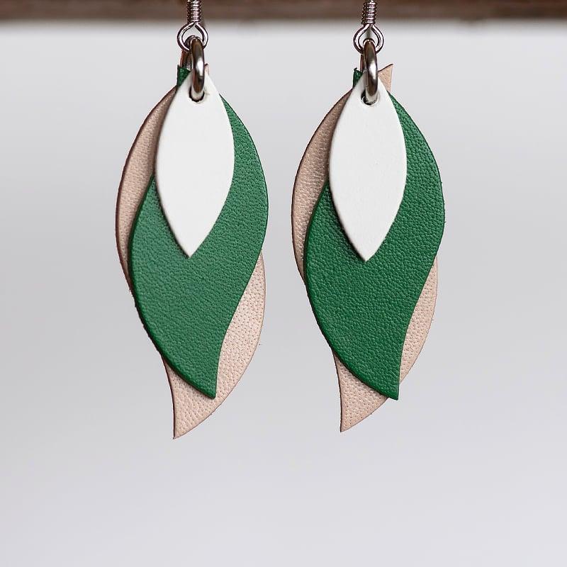 Image of Handmade Australian leather leaf earrings - White, green, beige