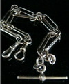 """VICTORIAN 9CT YELLOW GOLD PAPERCLIP CHAIN ALBERT DOUBLE DOG CLIP T BAR 46.2G 17"""""""