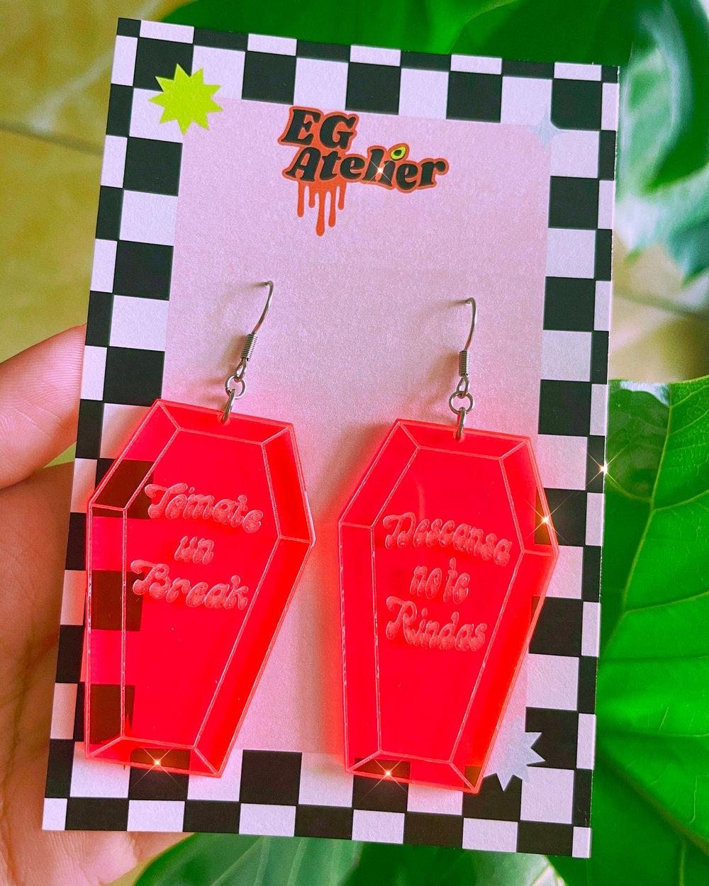 Image of Neon Coffin earrings