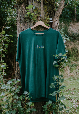 Image of Lavender Bee Embroidered Organic T-Shirt ~ Bottle Green