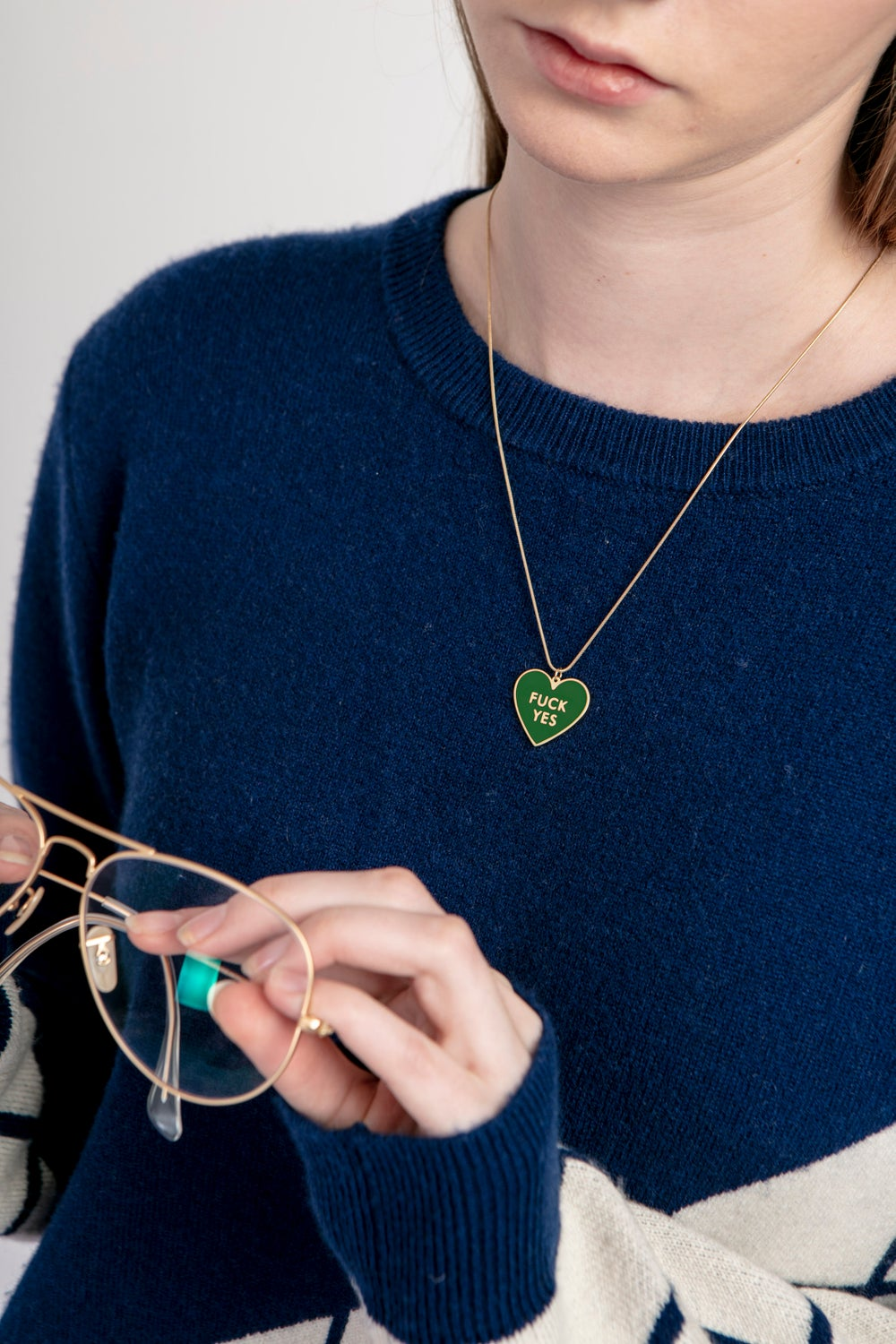 Fuck Yes Necklace - Forest Green • reversible