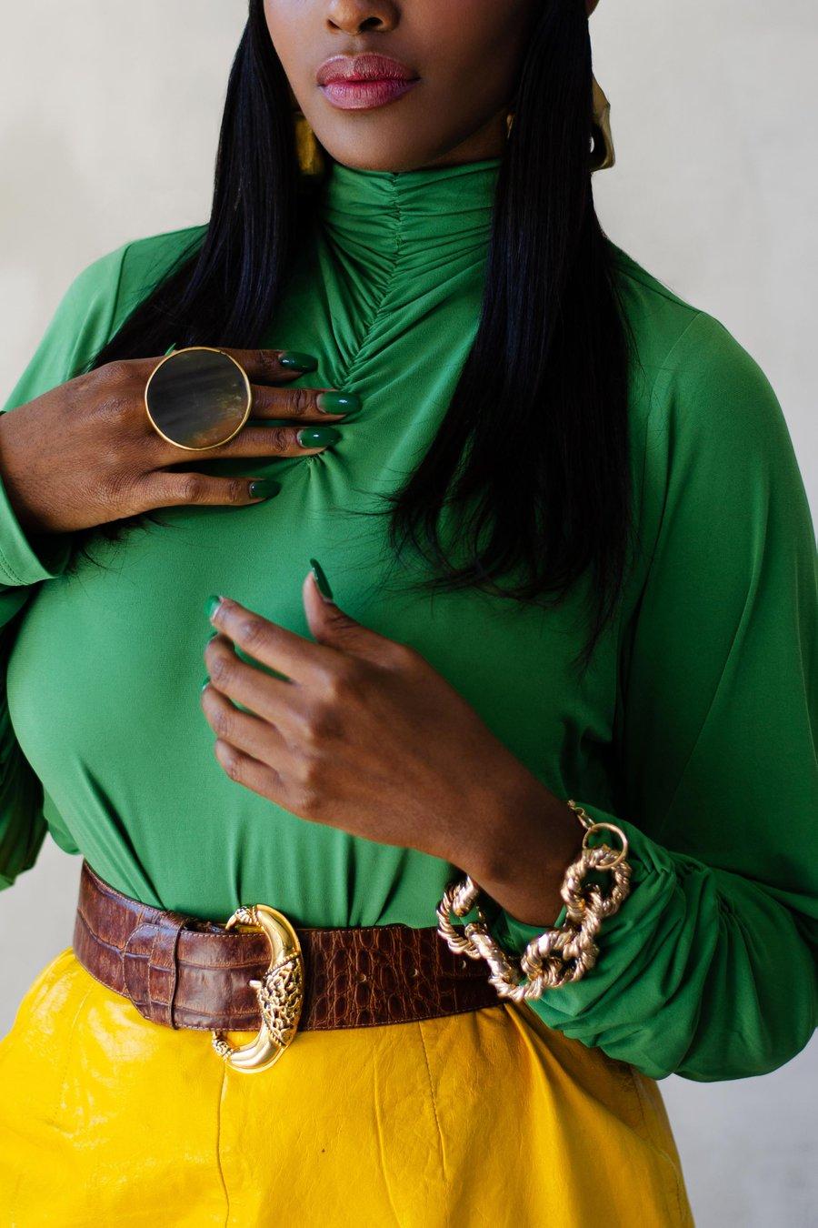 Image of Modern Thandie Green Ruched Turtleneck