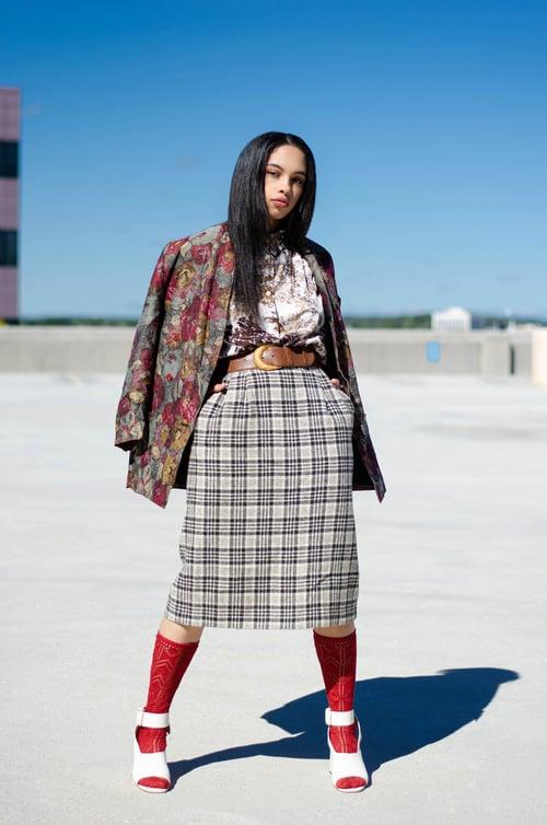 Image of Vintage Plaid Midi Wool Skirt