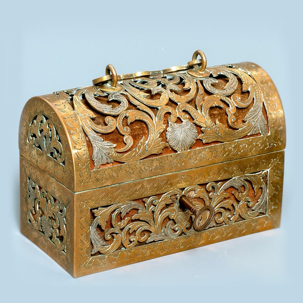 Image of An exquisite silvered brass French coffret of the 17th century