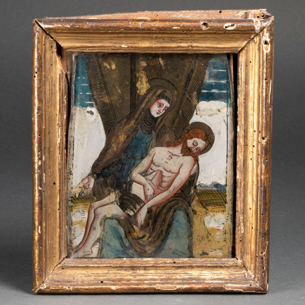 Image of A reverse-painted glass Pieta made in Tyrol, ca. 1600