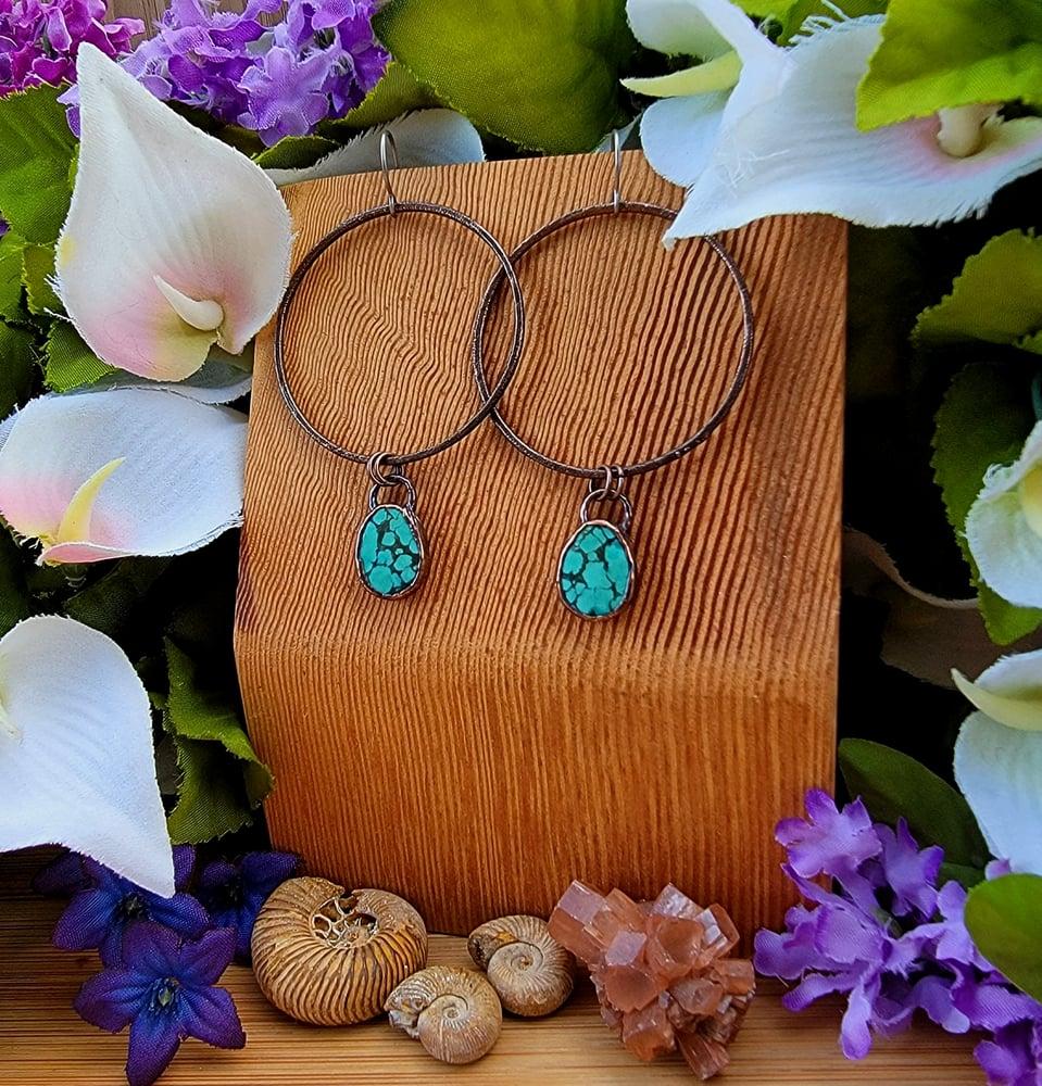 Image of Large Tibetan Turquoise Hoop Earrings