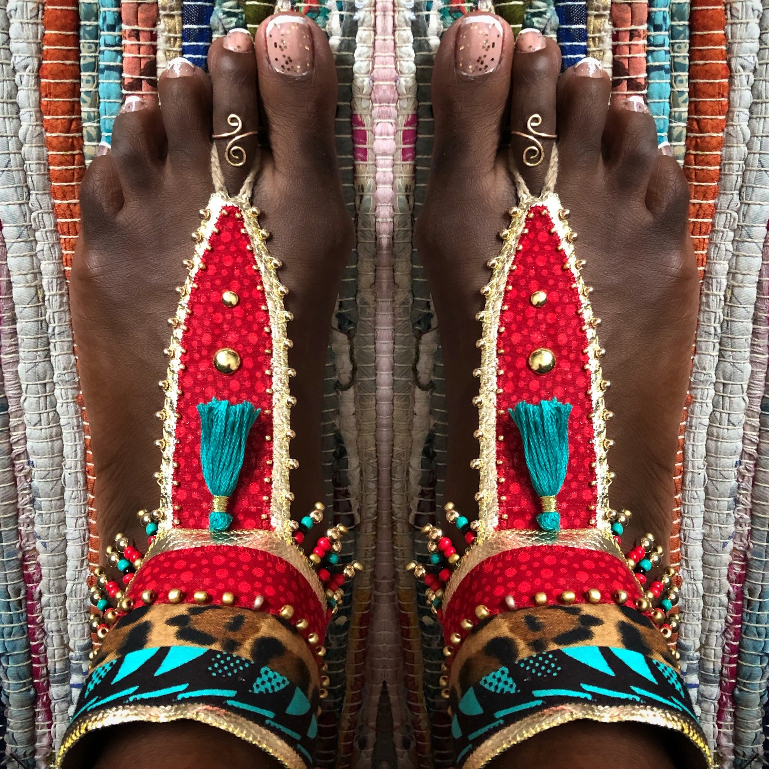 Image of Lady in red Barefoot sandals