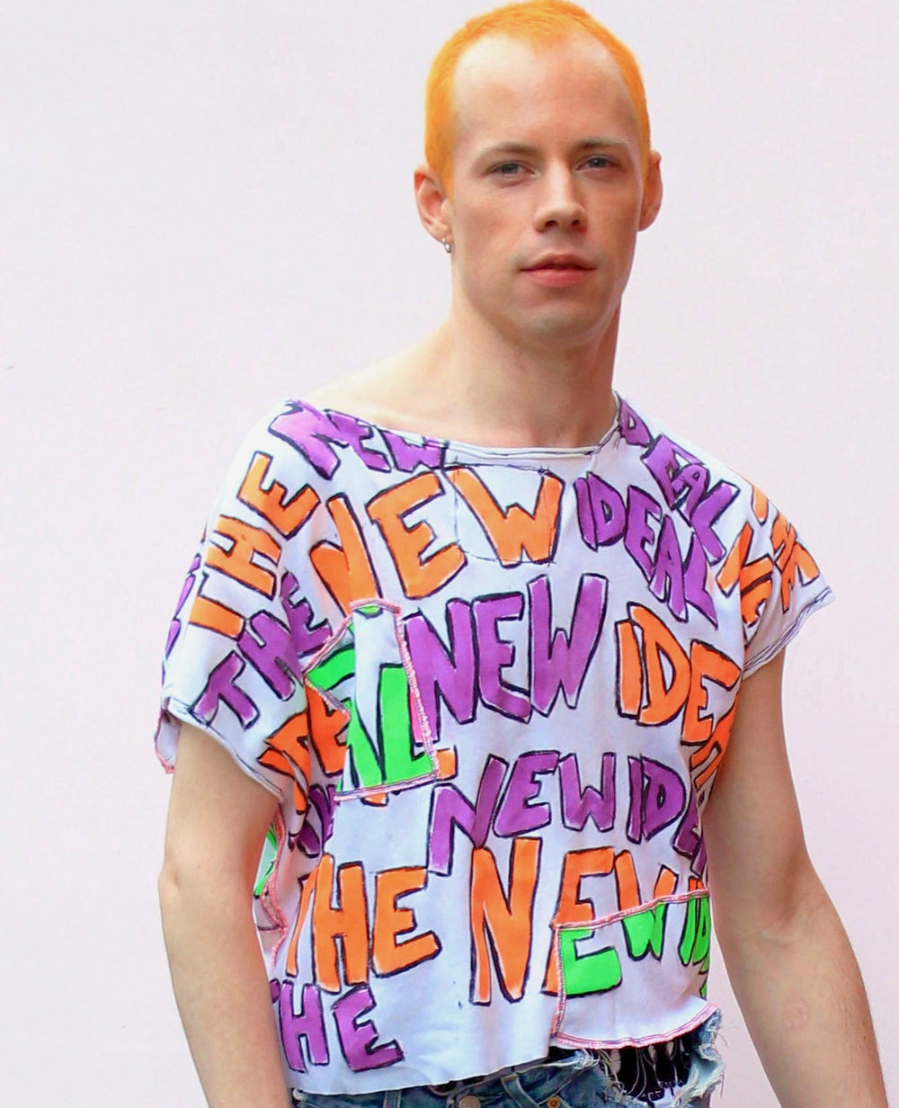 THE NEW IDEAL ORANGE AND PURPLE TOP