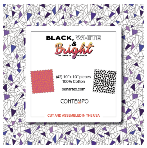 "Black, White & Bright Layer Cake 10"" x 10"" Squares #LC101 - Preorder Ships 11/1"