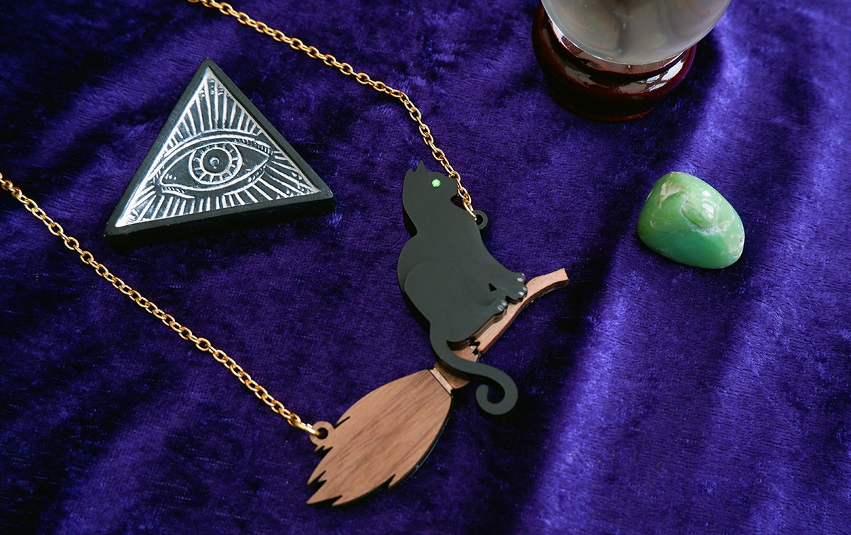 Image of Black Cat Witches Broom Necklace