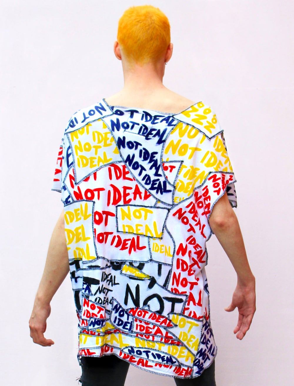 NOT IDEAL RED, YELLOW AND NAVY DECONSTRUCTED PATCHWORK TOP