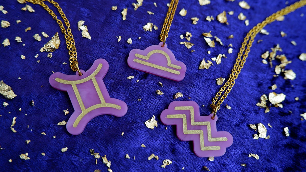 Image of Air Sign Zodiac Pendant Necklaces: Gemini   Libra   Aquarius