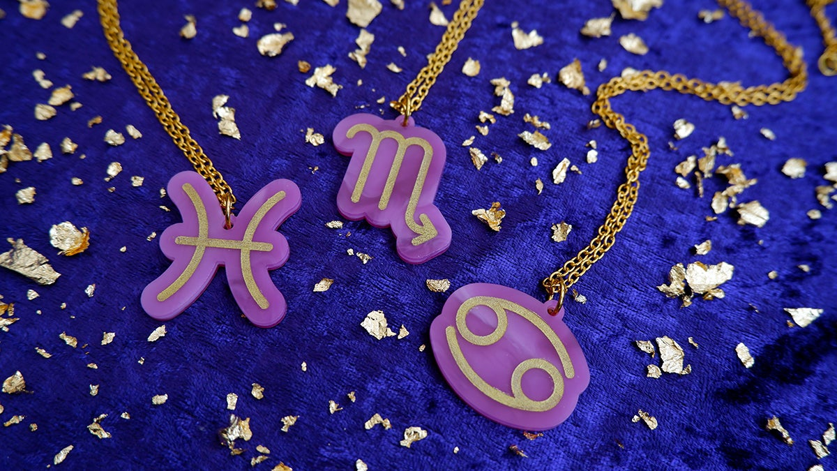 Image of Water Sign Zodiac Pendant Necklaces: Cancer | Pisces | Scorpio