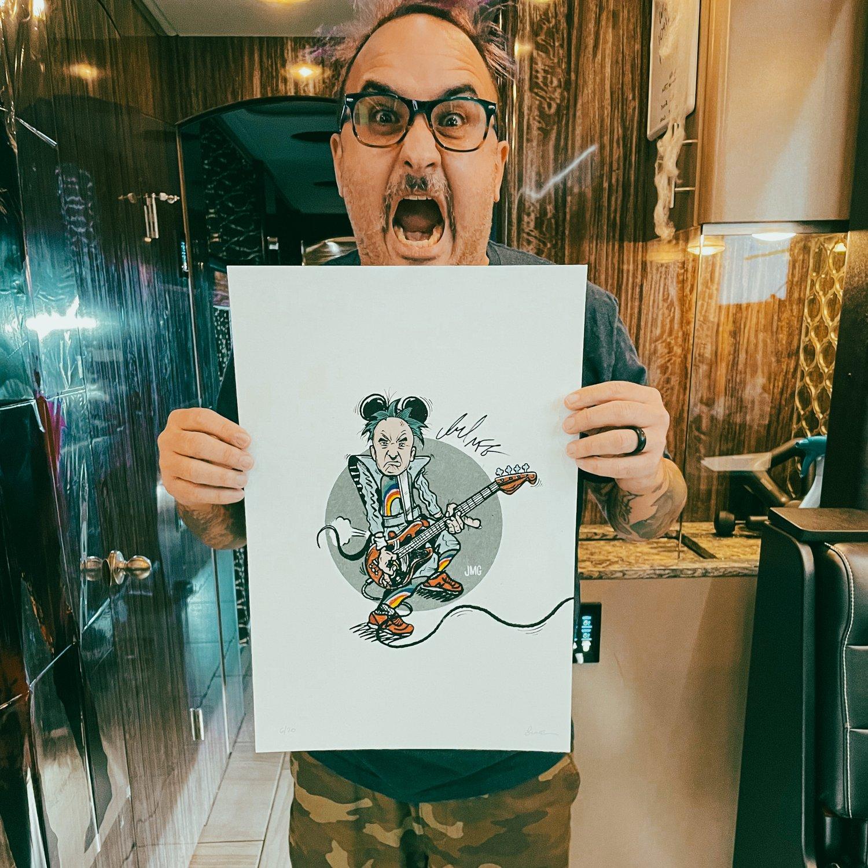 Autographed Ian Grushka/New Found Glory as 80's Epcot Mickey 13x19 Print - Benefits Charity