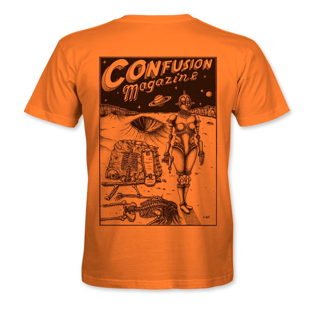 """Image of Confusion - """"Dystopia"""" t-shirt  [Tangerine]"""