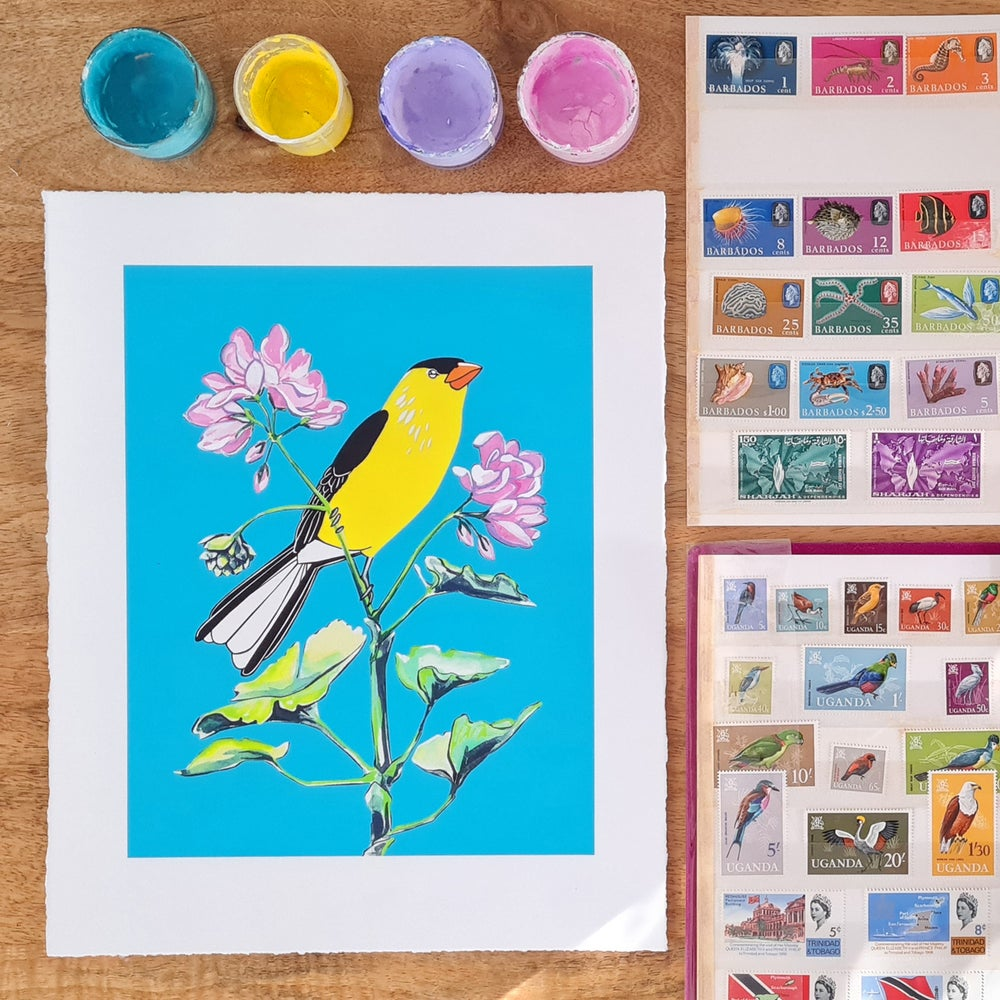Image of American Goldfinch and Geranium (print)