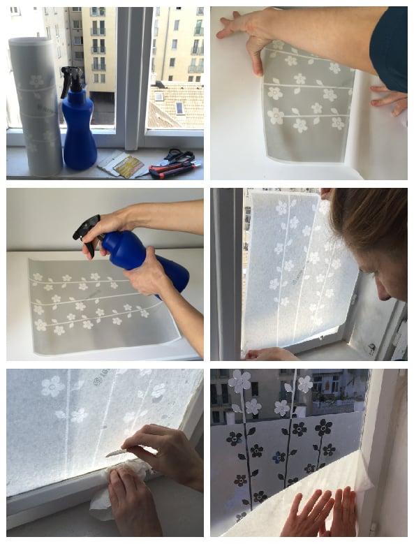 Image of Fensterfolie Linien und Dreiecke, Sichtschutz Glasdekorfolie