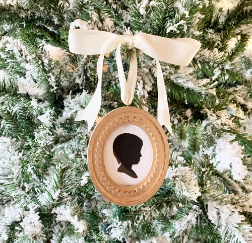 Image of Classic Oval Framed Silhouette Ornaments in Gold or Silver