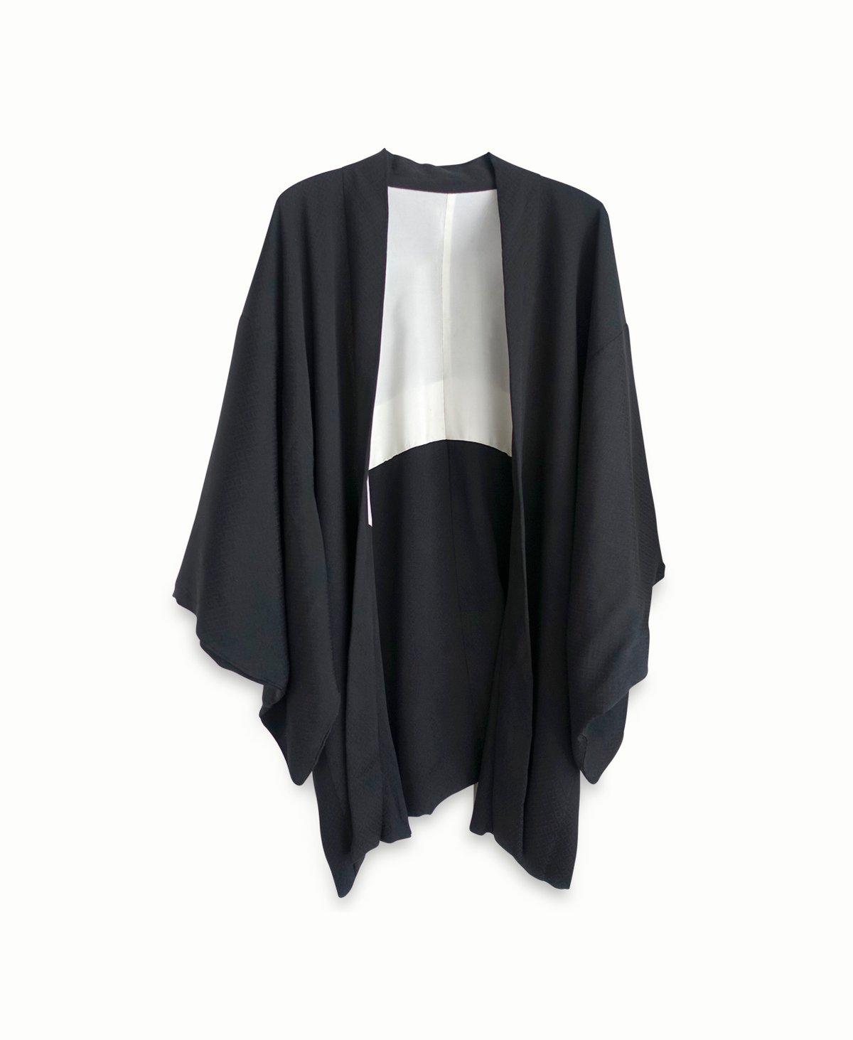 Image of Kort sort silke kimono - nedsat