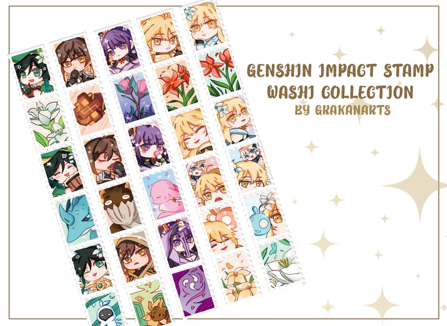 Image of [Preorder]Genshin Impact Washi Stamp Collection