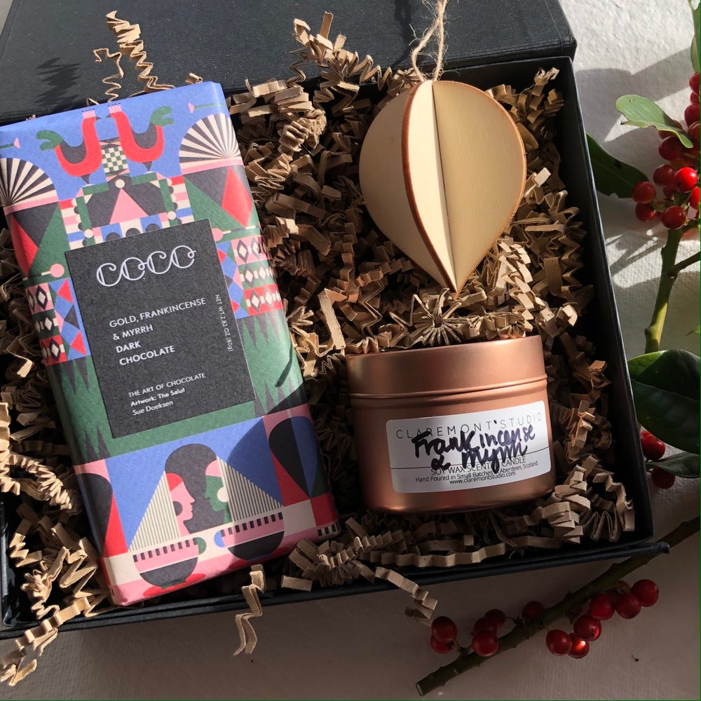 Image of Gold, Frankincense & Myrrh Chocolate and Candle Gift Box