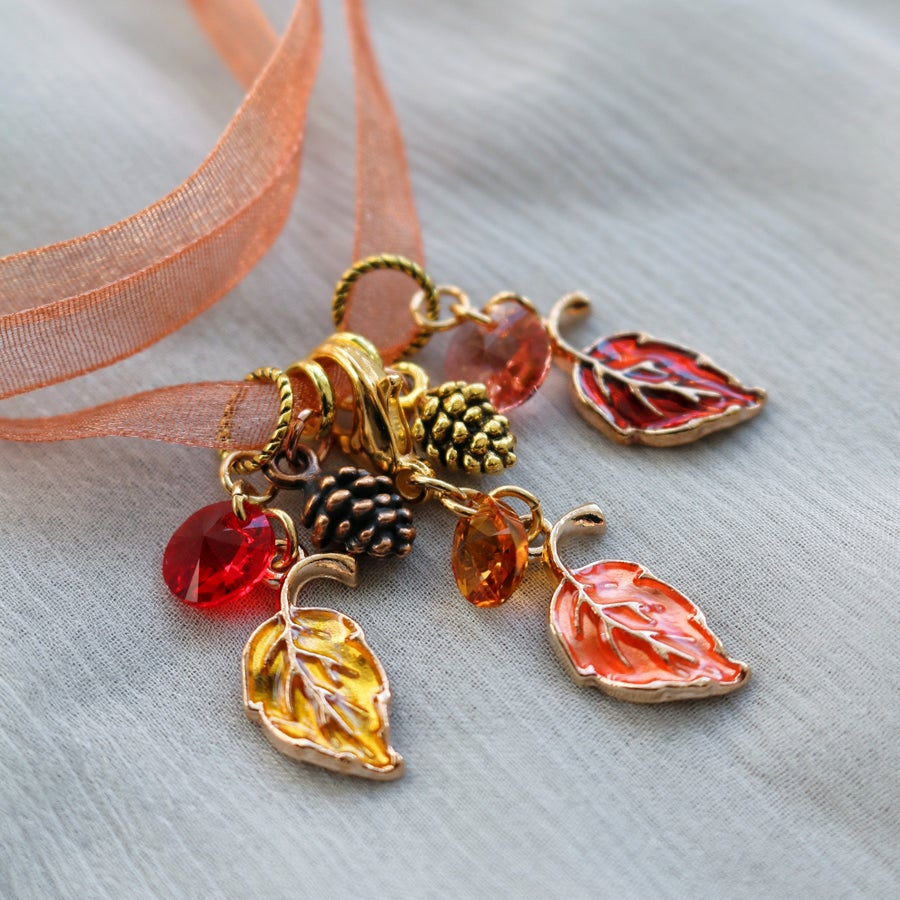 Image of AUTUMN LEAVES Crystal Stitchmarkers