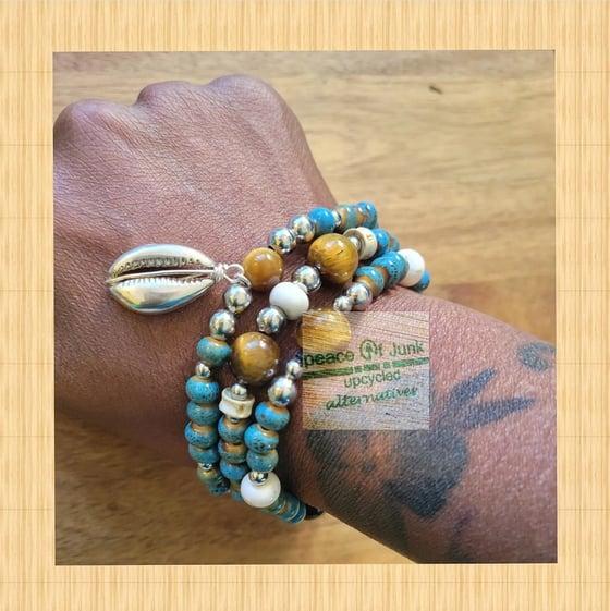 Image of #OCEAN BLUE #TIGERSEYE BONE #SILVER #COWRIESHELL (3) STACK #Bracelets 🐚