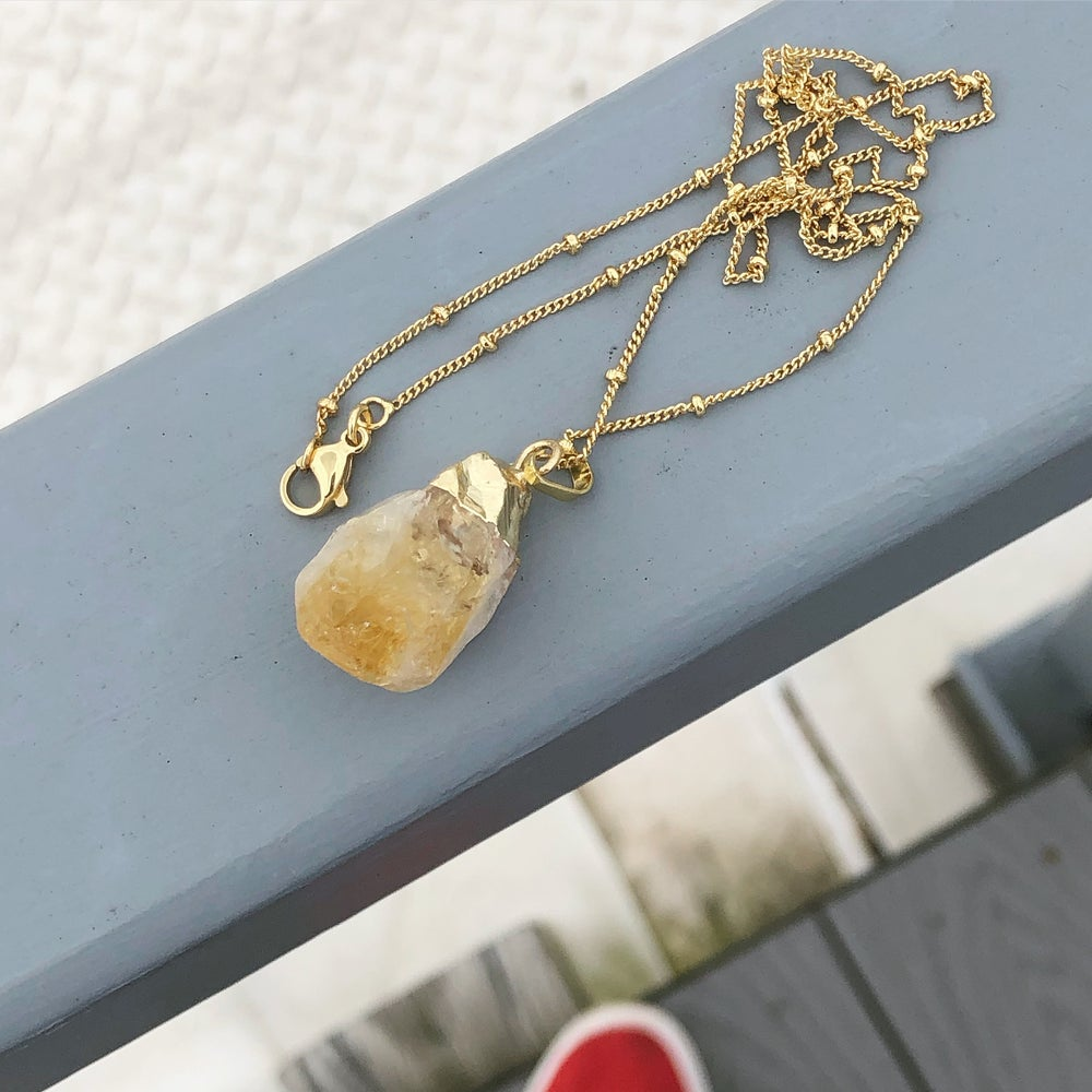 Image of Gold Dipped Rough Citrine Necklace