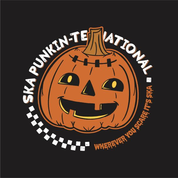 Ska Punkin-Ternational Halloween shirt on Black Bella Canvas