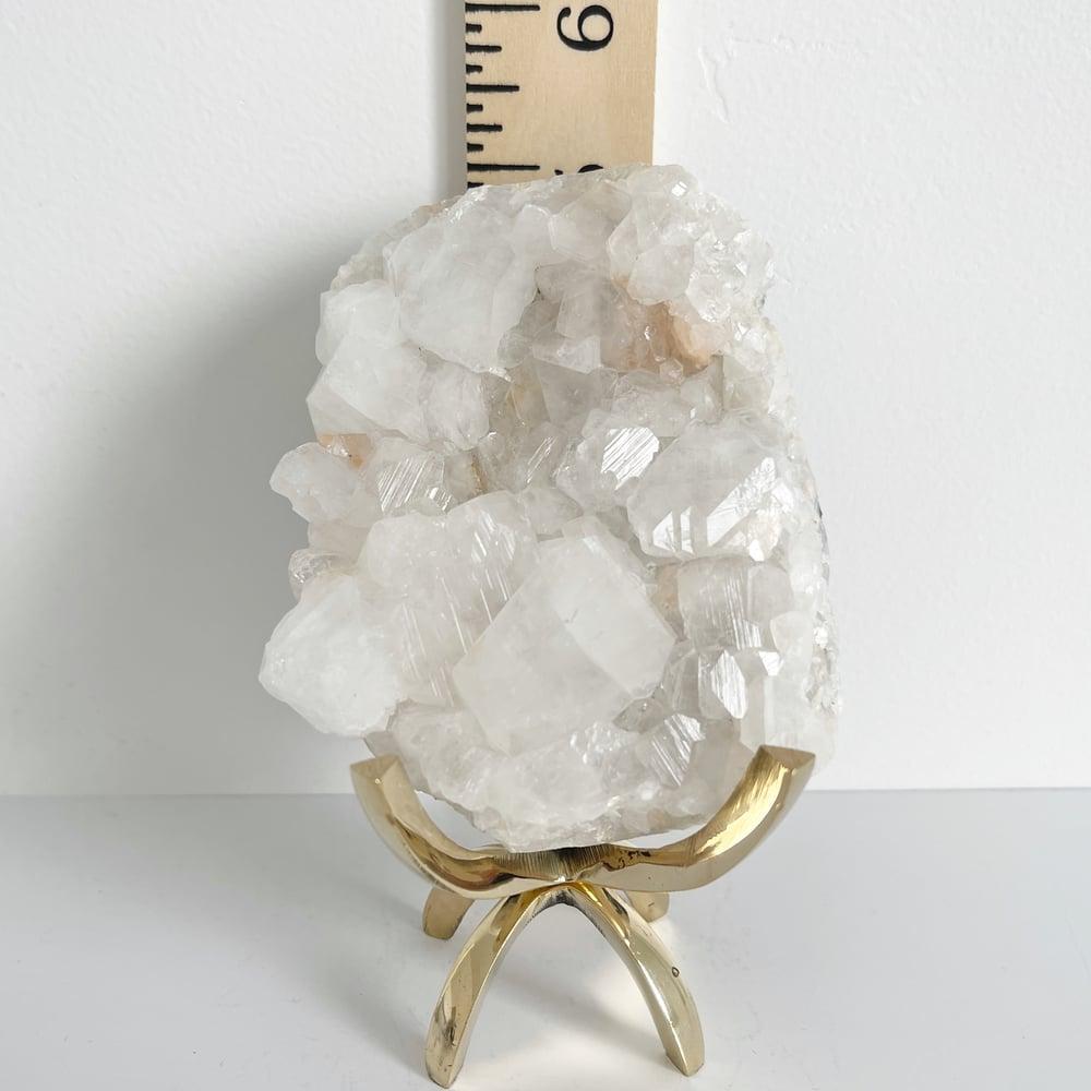 Image of Apophyllite/Stilbite no.33 + Brass Claw Stand