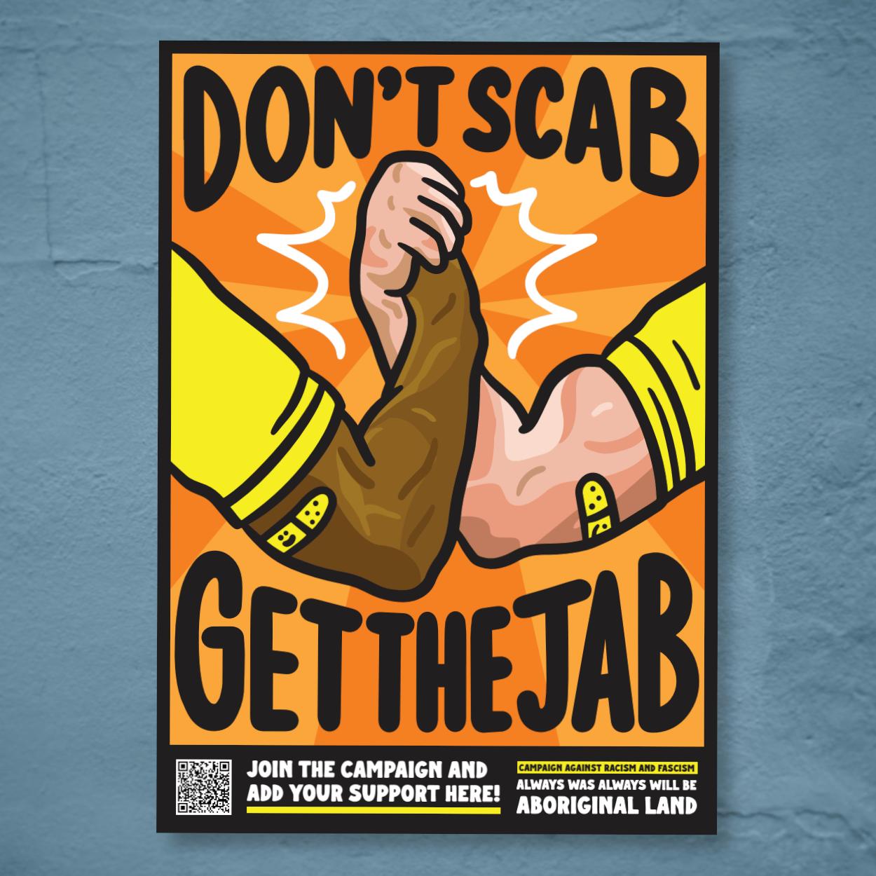 Image of Don't Scab, Get the Jab Poster Pack (Orange Design)