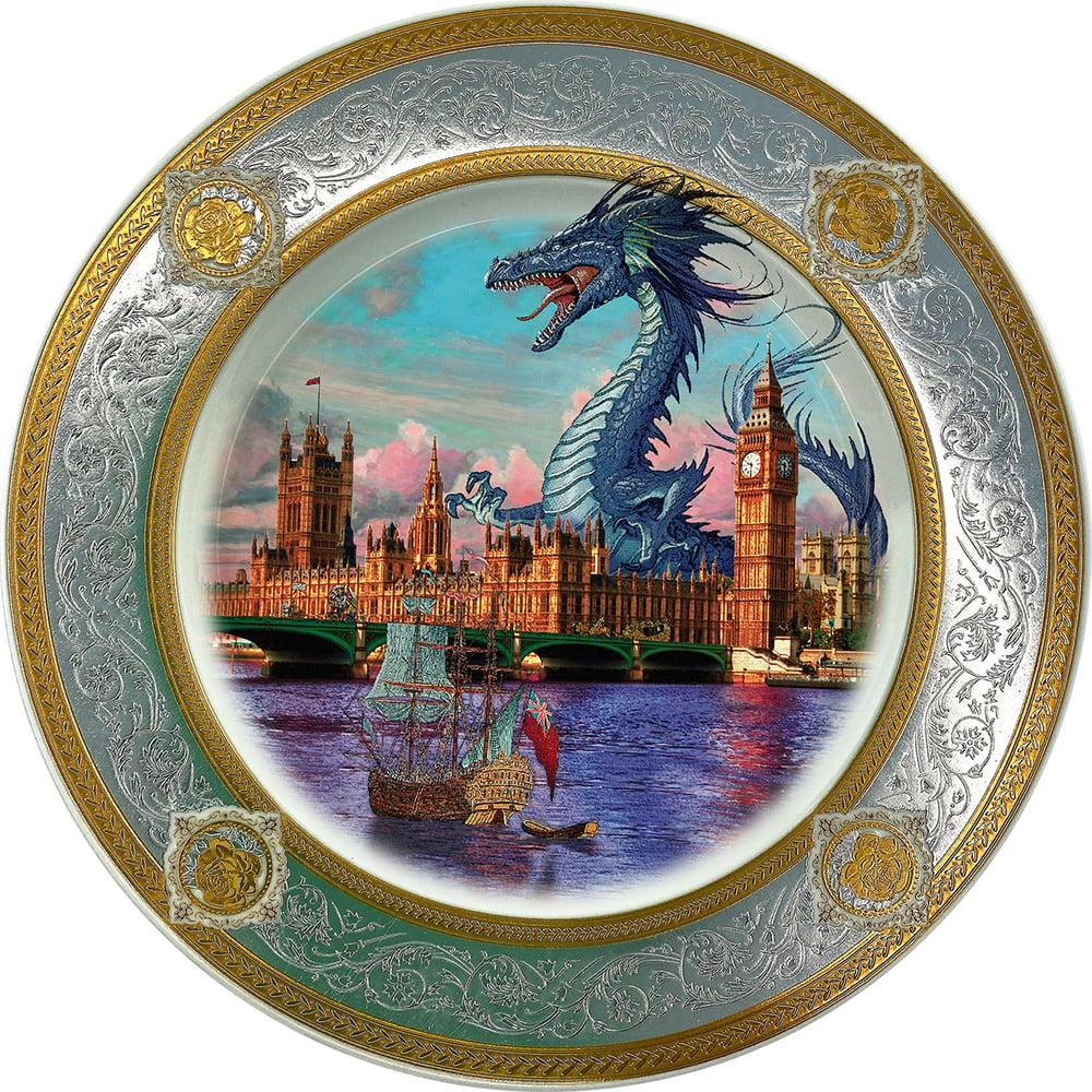 Image of London Blue dragoon - Fine China Plate - #0790