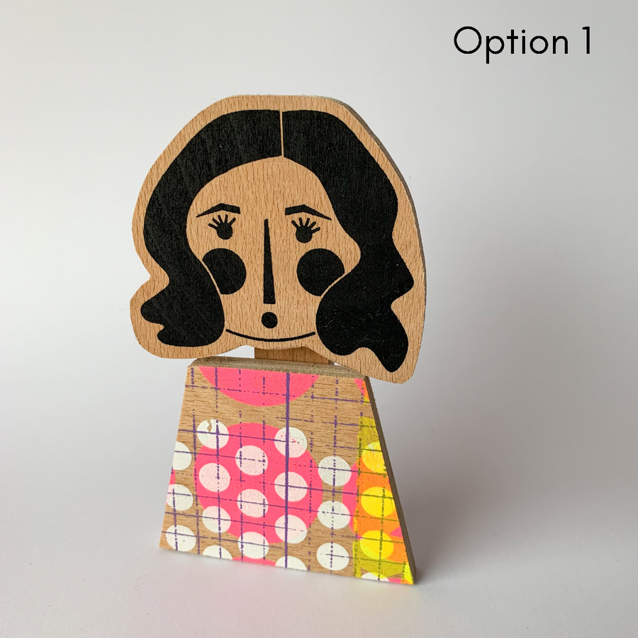 Image of Wavy haired girl - mini wall plaque