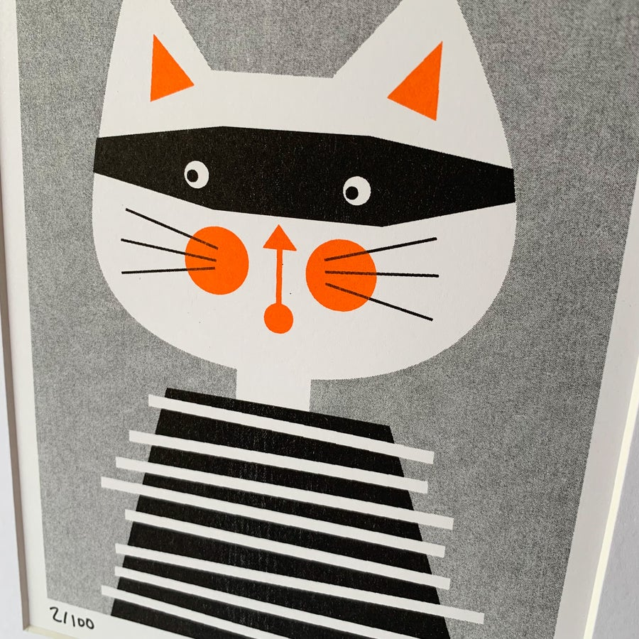 Image of Cat Bandit A5 Riso Print with A4 white mount
