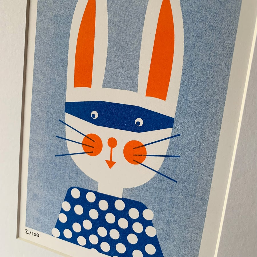 Image of Bunny Bandit A5 Riso Print with A4 white mount