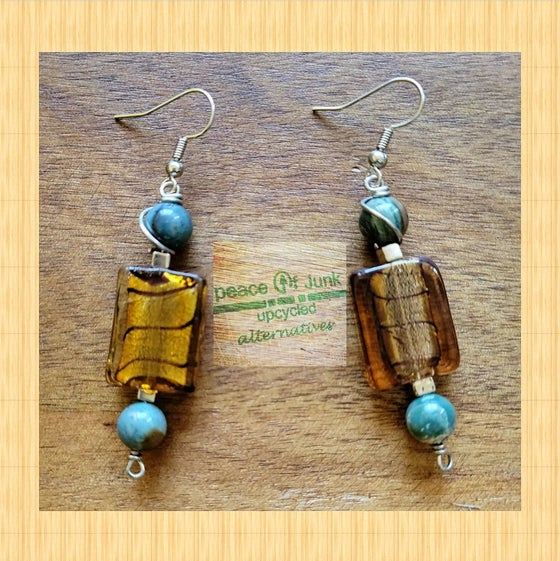 Image of BROWN #GLASS #BLUEAPATITE SILVER #WIREWRAPPED EARRINGS