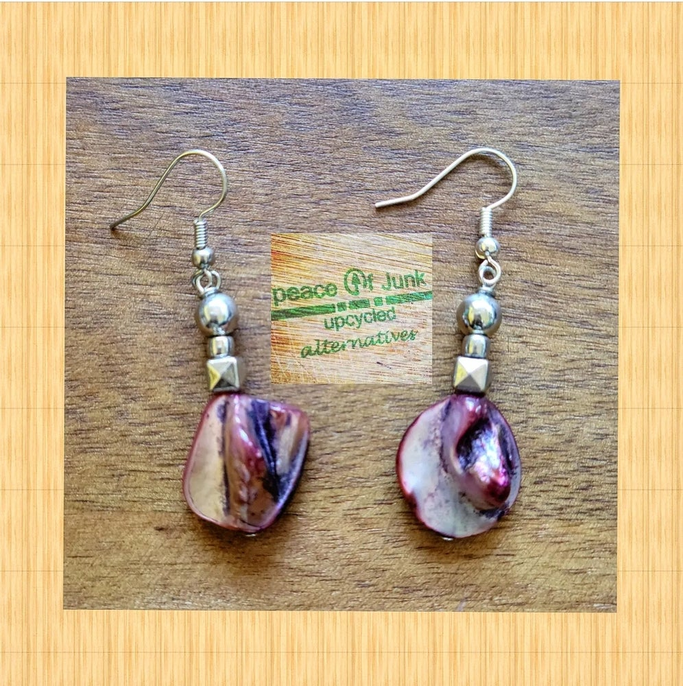 Image of #PURPLE ABSTRACT SILVER DRIP EARRINGS